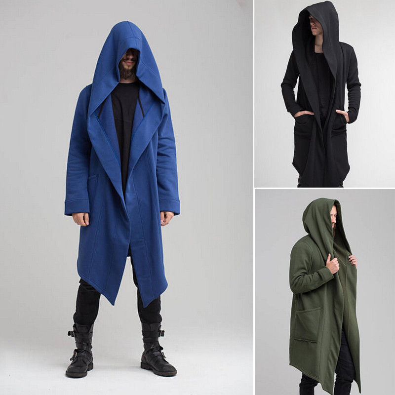 Mens Windbreaker Trench Long Sleeve Hoodies Cotton Warm Hoodies Outerwear Solid Men Long Jacket Trench Outwear Overcoat