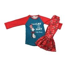 Baby meisje herfst kleding meisje kat rode la raglanmouwen top shirt broek hijgen meisje is een wilde outfit voor boog