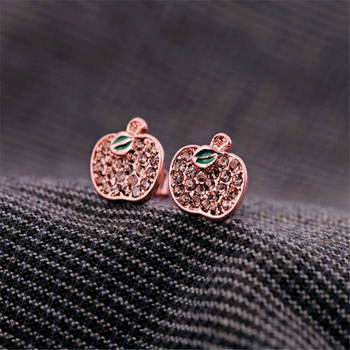 kissme Women Stud Earrings Green Crystal Apple Earrings Exquisite Gifts Rose Gold Color Fashion Jewelry Accessories Wholesale image