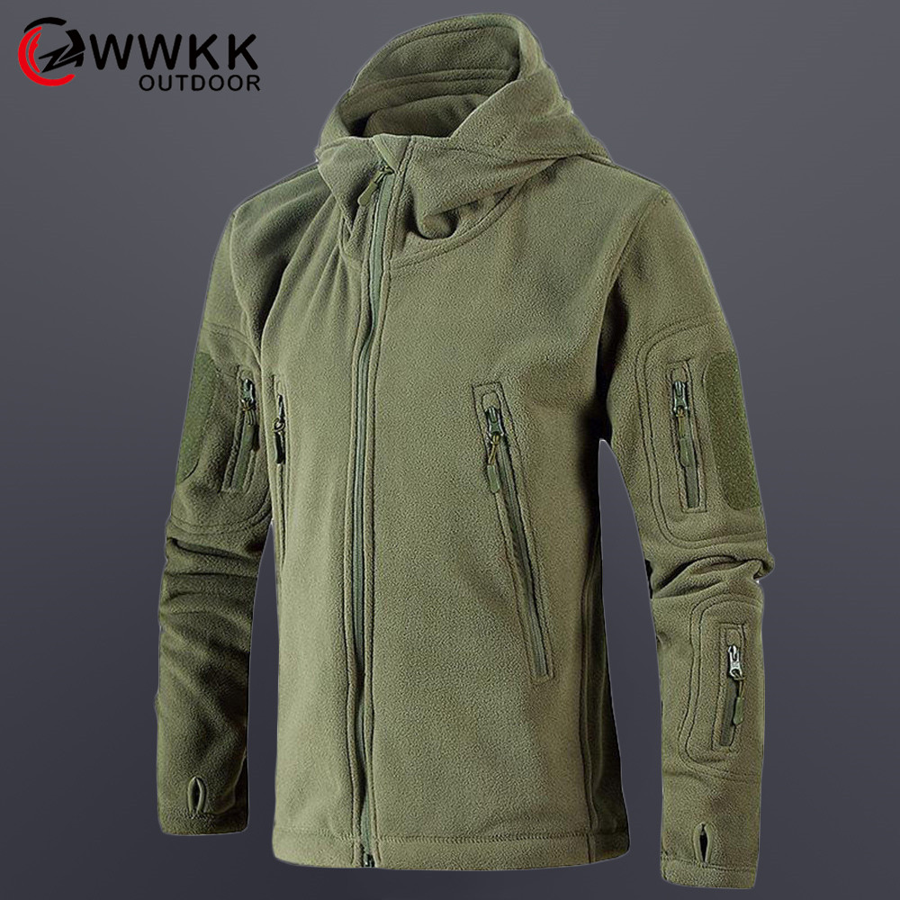 WWKK Fleece Hiking Wear Resistant Jackets Men Autumn Winter Windbreaker Softshell Thick Warm Jacket Mountaineering Camping Coats