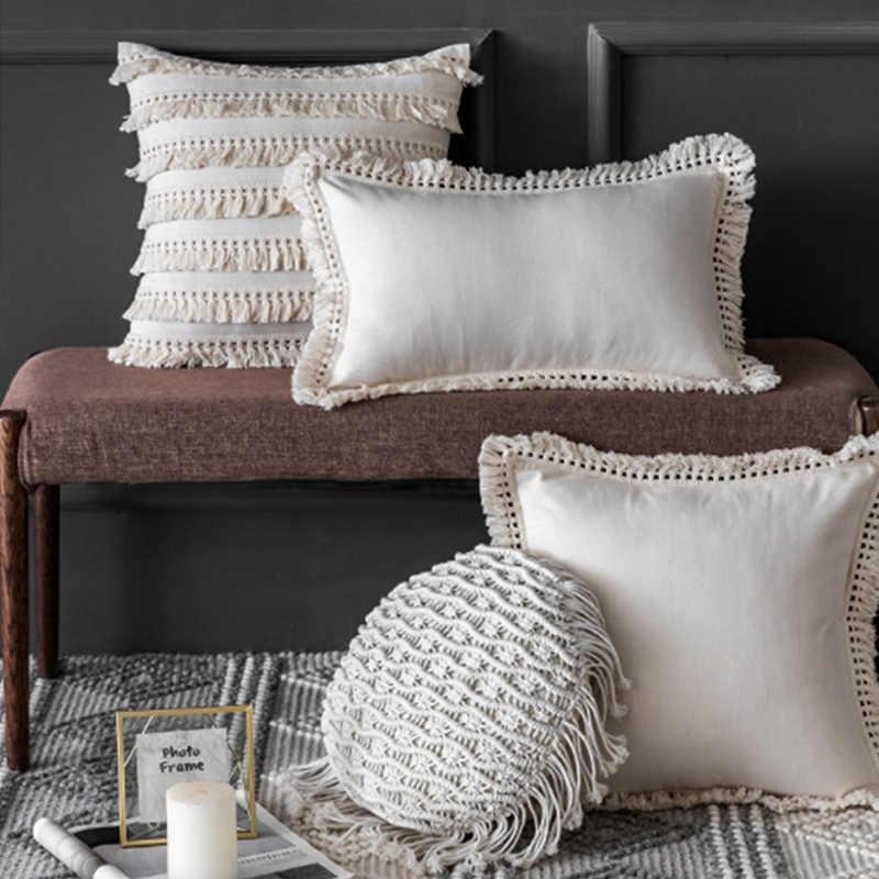 off white boho beige linen cotton tassels pillow cover round lumbar cushion cover home decor throw pillowcase 45x45cm 30x50cm