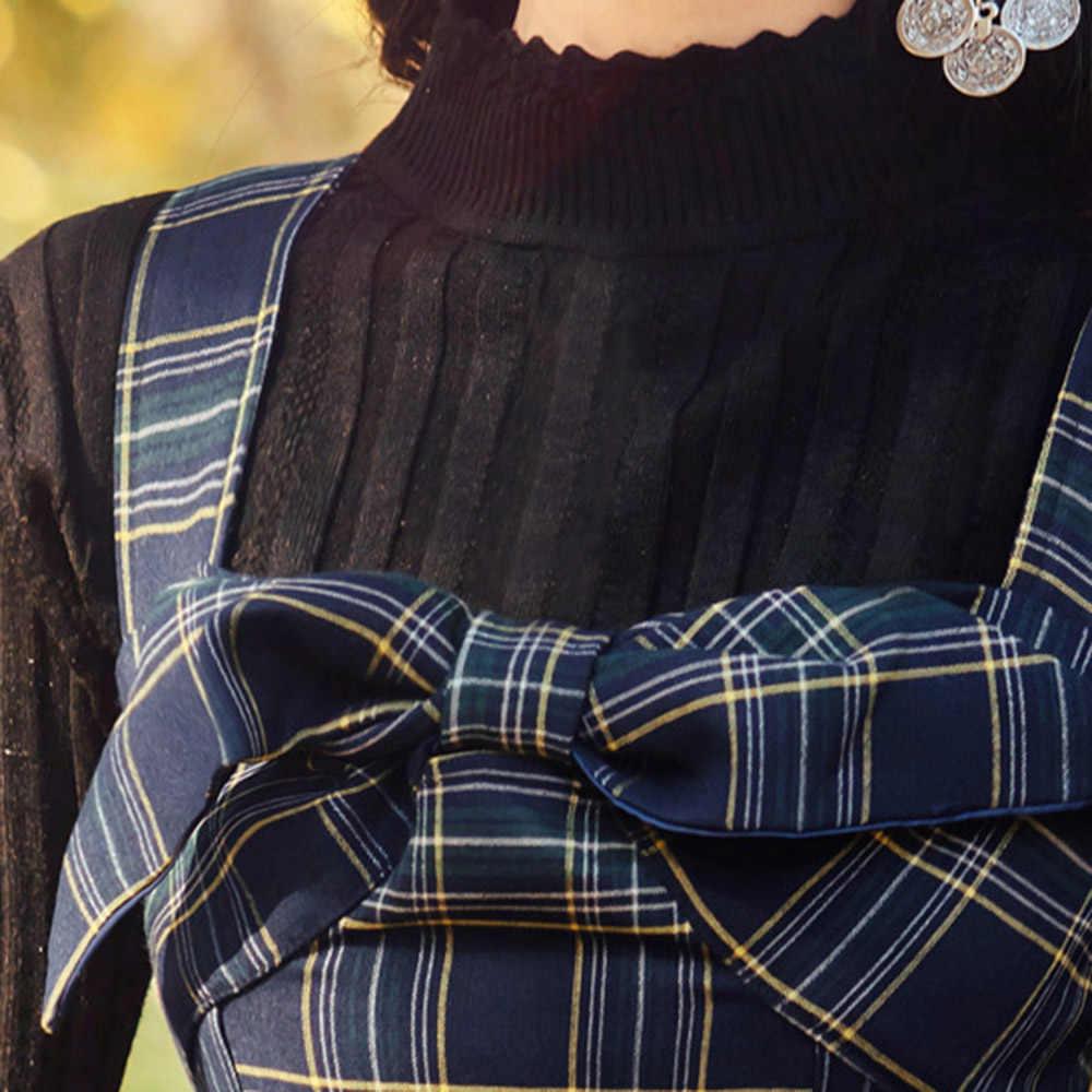 Eleagnt Hàn Quốc Hai Mảnh Bộ Thu Dài Tay Cơ Bản Chắc Chắn Trang Và Kẻ Sọc Nơ Cổ Chân-Dài Áo Dài xanh Dương Phù Hợp Với