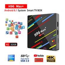купить H96 MAX Plus Rk3328 TV Box Android 8.1 4GB 32GB Set Top Box USB3.0 HD 4K Support Youtube Netflix Smart IPTV Smarters SSIPTV DAZN по цене 6080.65 рублей
