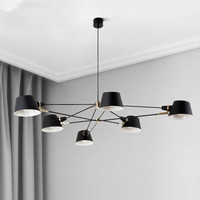 Nordic Iluminação Lustre/Lâmpada Moderna Sala de estar Pendurado Lâmpadas de Suspensão Para Sala de Jantar Quarto Luminária Preto