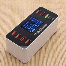 СВЕТОДИОДНЫЙ 8 портов 8А 40 Вт QC 3,0 USB зарядное устройство type C быстрое зарядное устройство для мобильного телефона новинка