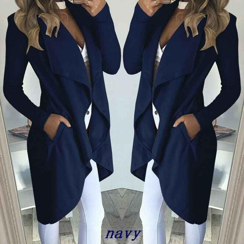 2019 가을 여성용 긴 폭포 오픈 프론트 코트 자켓 여성용 카디건 오버 코트 점퍼 플러스 사이즈 S-2XL