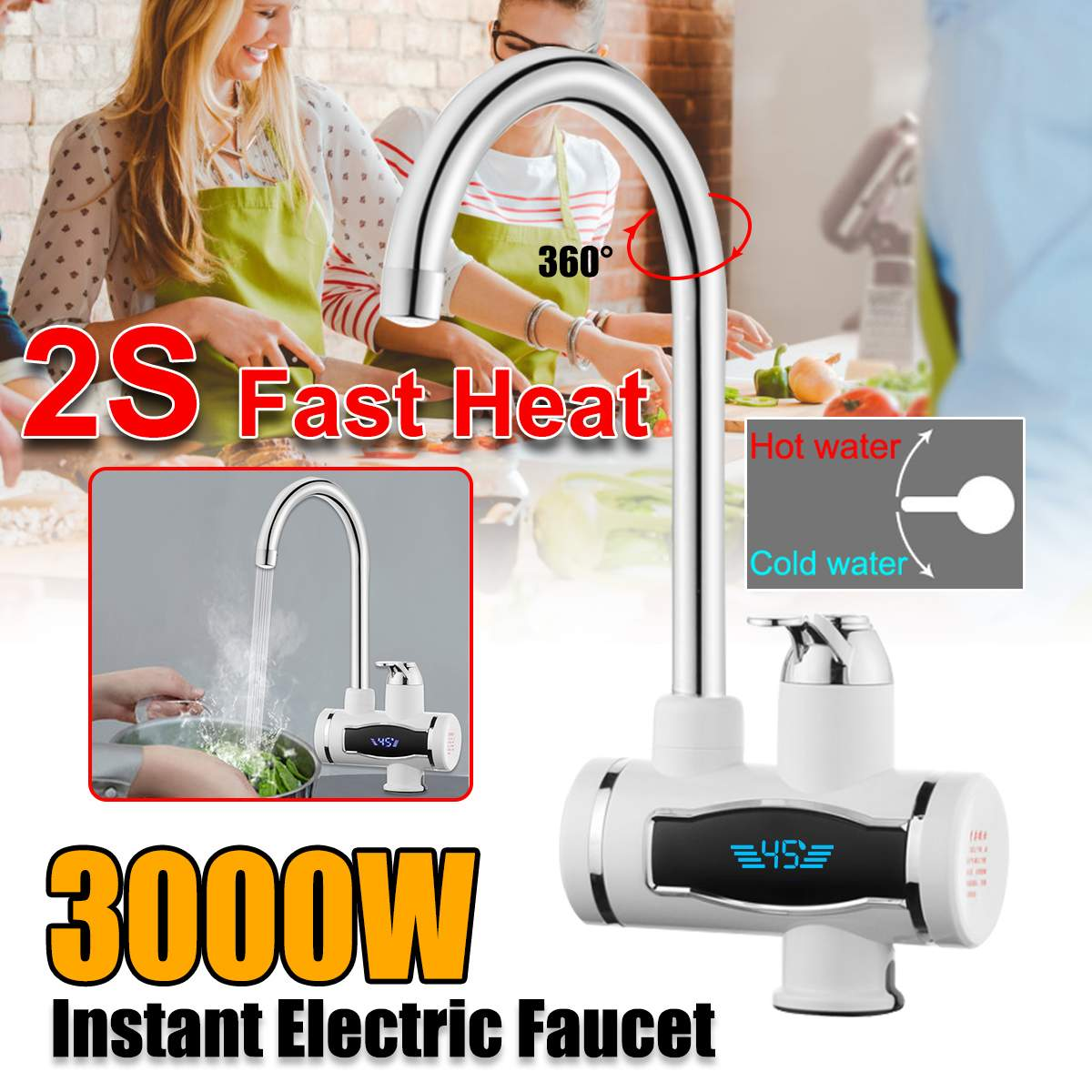 3000W Instant Tankless Electric Hot Water Heater-Faucet Kitchen Instant Heating Tap Water-Heater Under Inflow With LED EU/US Plu