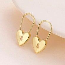 Lost lady ouro cor metal coração bloqueio hoop brincos para as mulheres nova moda geométrica maxi huggies brincos jóias de casamento presentes