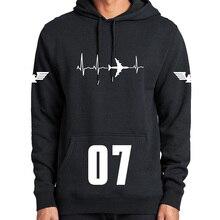 Avião hoodie aviação batimentos cardíacos espaço entusiastas manga longa grosso superior mais veludo camisolas casuais
