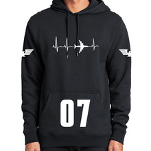 Plane Hoodie Aviation Heartbeat Space Enthusiasts Long Sleeved Thick Top Plus Velvet Casual Sweatshirts