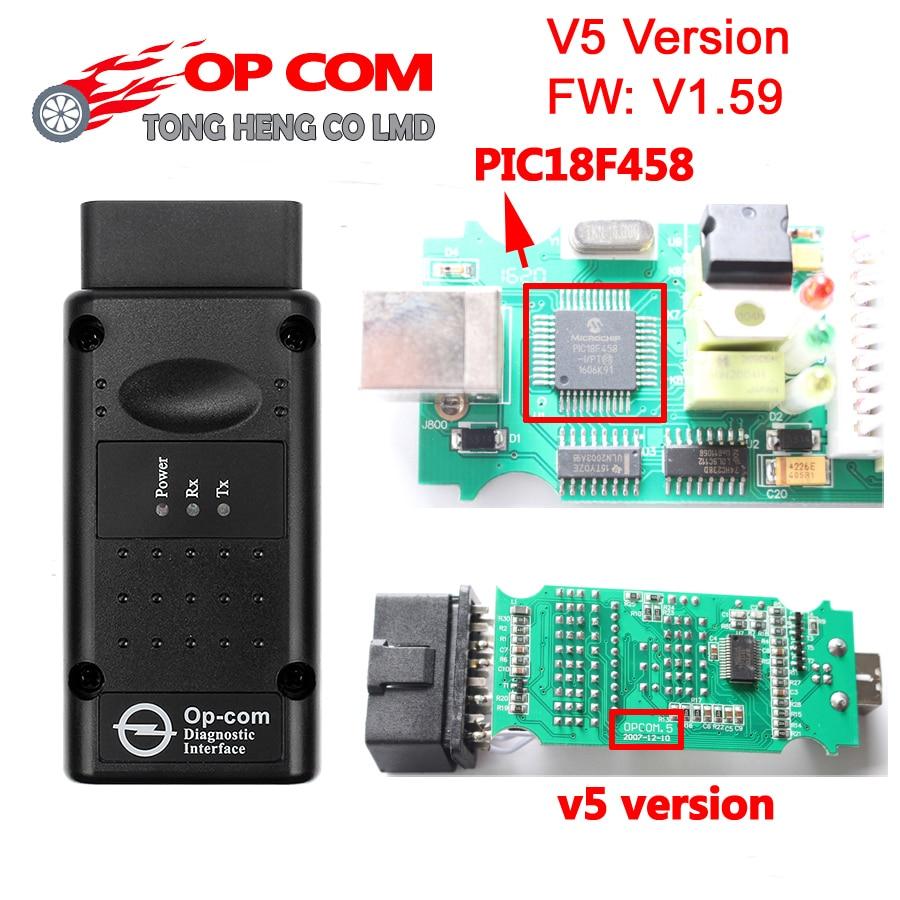 Melhor pic18f458 + ftdi chip op com v5 versão v1.59/v1.99 2014 v firmware pode ser atualização flash obd2 op-com scanner para opel