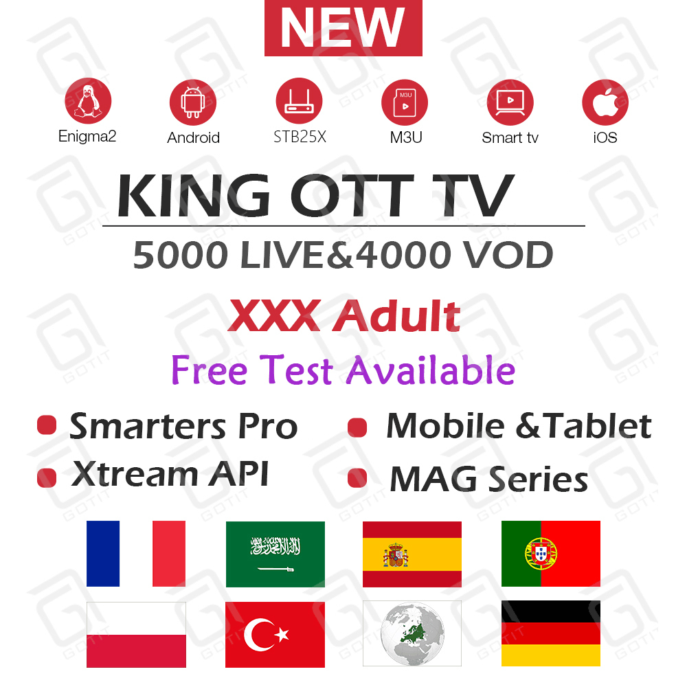 KING OTT French TV Subscription For Francais Arabic Spanish Portugal TV Channel Support Adult M3u Enigma2 Smar TV Android TV Box