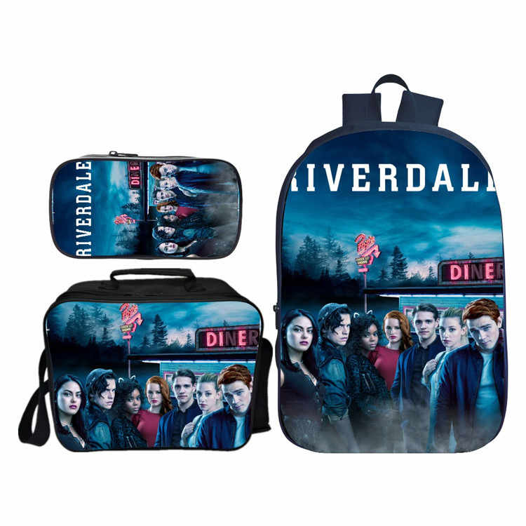 3 Pcs Set Riverdale Backpack Student School Shoulder Lunch Pencil Bag Satchel Laptop Rucksack Knapsack Teenager Travel Gift
