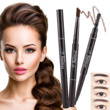 Cabeças duplas lápis de sobrancelha automático à prova dwaterproof água caneta de longa duração com escova de sobrancelha maquiagem cosméticos ferramentas