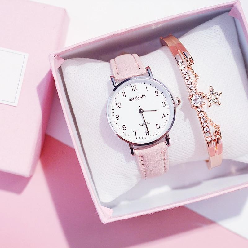 Fashion Girls Quartz  Ladies Watches Bracelet Rhinestone Watch Women Casual Leather Wristwatch Clock Relogio Feminino