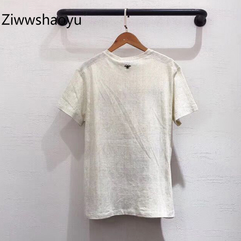 Ziwwshaoyu 2020 nueva camiseta de manga corta de algodón y lino con estampado de patrón de moda de verano de alta calidad para mujer - 2
