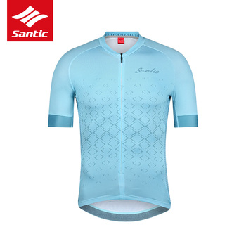 Santic Cycling Jersey Men Short Sleeve Top Pro MTB Road Bike Breathable Bicycle Jersey Anti-sweat Quick Dry Ciclismo Clothing