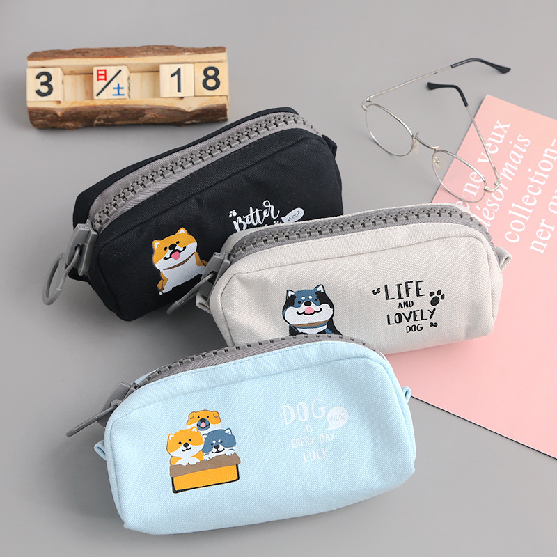 Big Zipper Dog Pencil Case For School Fruit Watermelon Large Capacity Pencil Bag Pen Pouch Stationery Gift School Office Supply