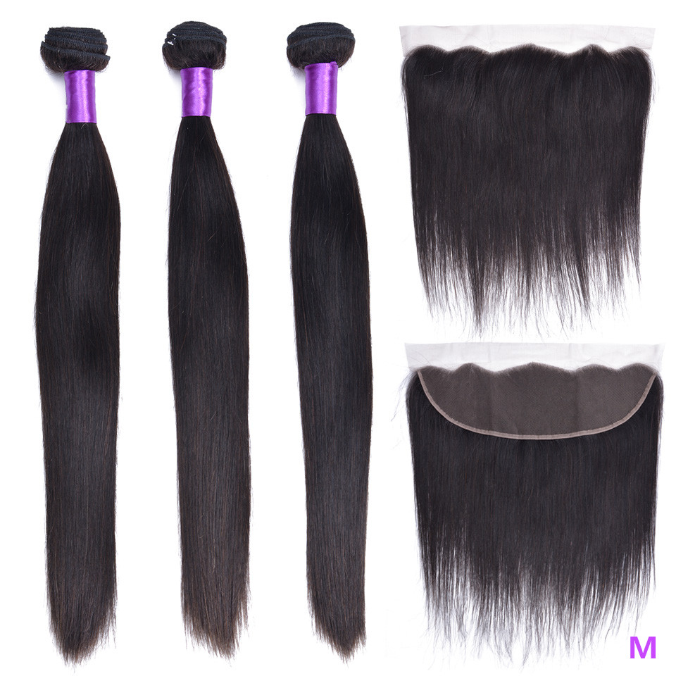 "OYM HAIR Straight Hair Bundles With Closure 8""-26"" Middle Ratio Non- Remy Brazilain Hair Weave Bundles With 13x4 Lace Frontal"