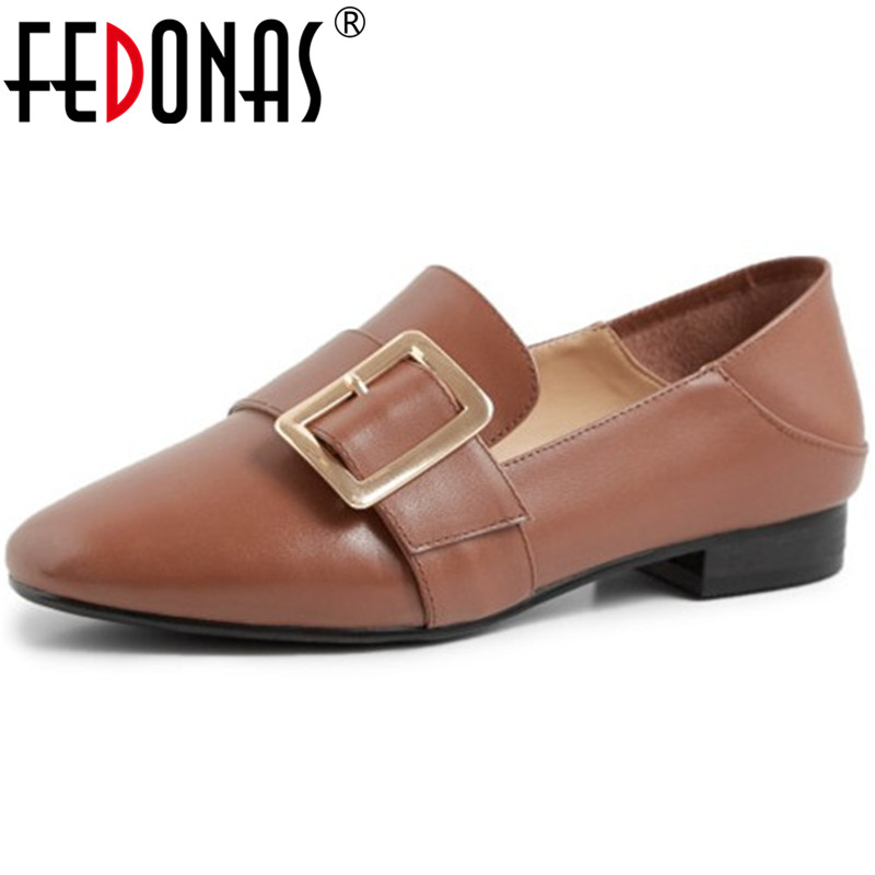 FEDONAS Women Working Prom Square Heels Pumps Spring Summer Metal Decoration Loafers Genuine Leather Newest 2020 Shoes Woman