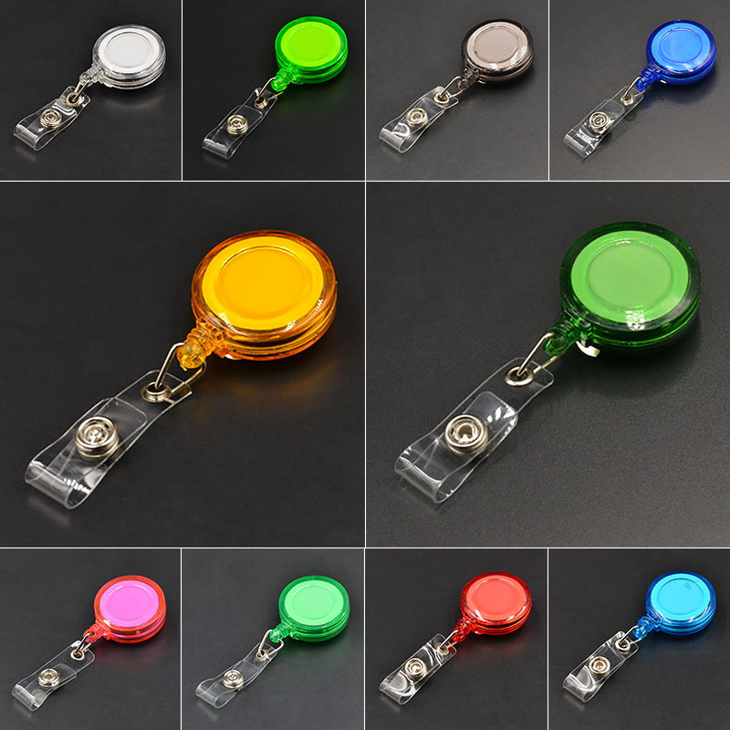 1 Pc Circular Button Easy To Pull Stretcher Extension Buckle (Random Color) Badge Lanyard Documents Buckle Retractable