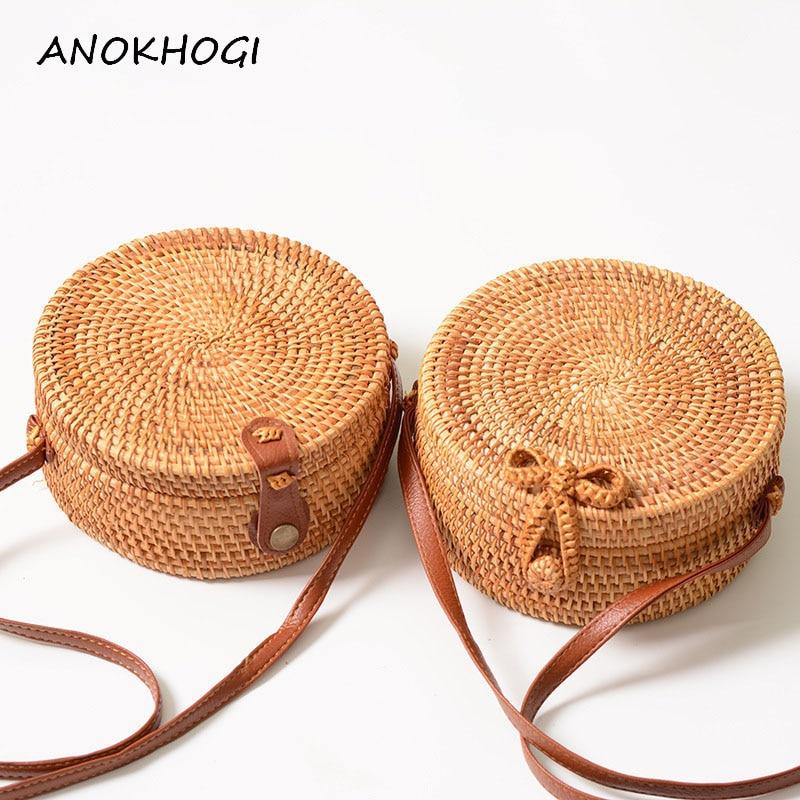 Vintage Handmade Women Rattan Bag Woven Bow Shoulder Bags Beach Straw Bag Messengers B161