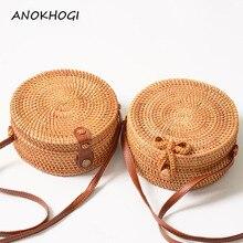 Vintage Handmade Women Rattan Bag Woven Bow Shoulder Bags Beach Straw
