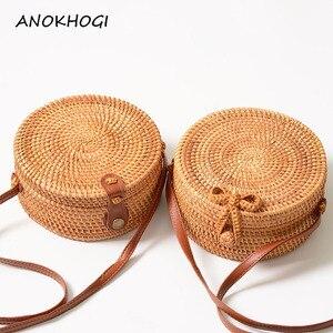 Vintage Handmade Women Rattan Bag Woven Bow Shoulder Bags Beach Straw Bag Messengers B161(China)