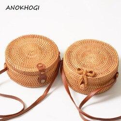 Vintage Handmade Women Rattan Bag Straw Woven Shoulder Bags Bow Holiday Beach Bohemia Crossbody Bag Messengers Handbag B161