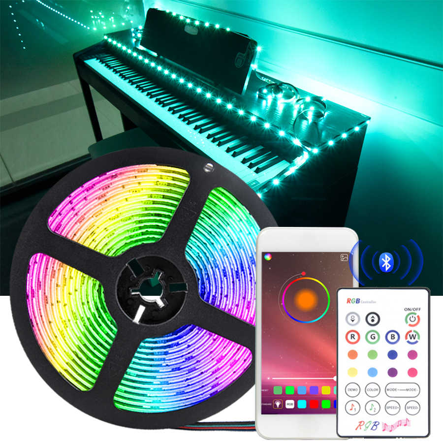 Tira de luces LED Bluetooth SMD 5050 RGB DC5V tira de luces Led Bluetooth cinta Flexible y controlador para decoración de Navidad