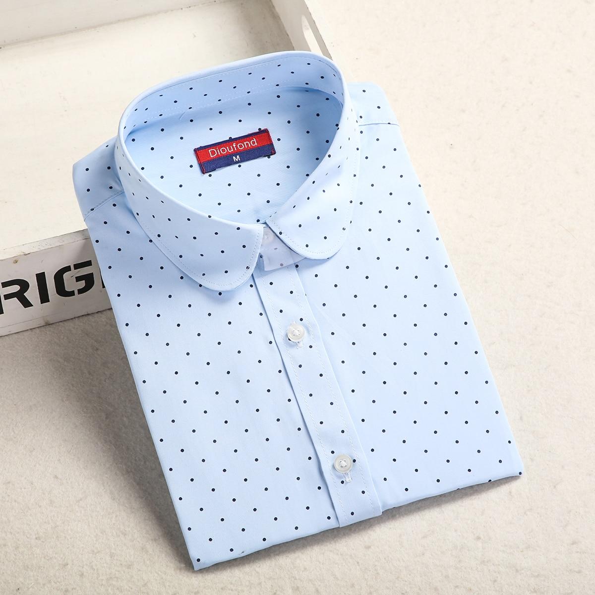Dioufond, Хлопковая женская рубашка, блуза с длинным рукавом, красный горошек, Blusas Femininas, 5XL размера плюс, отложной воротник, женские модные топы - Цвет: Bluedot