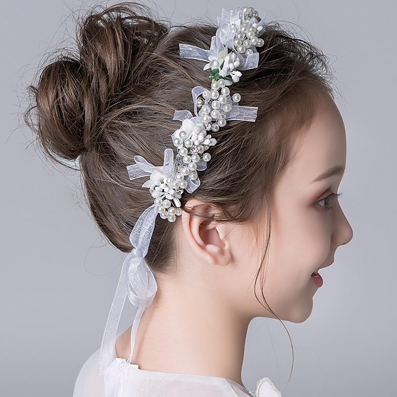 Garland Headdress Children Mori Female Korean Style White Flower Head Beautiful Handmade Wedding Flower Girl Wholesale
