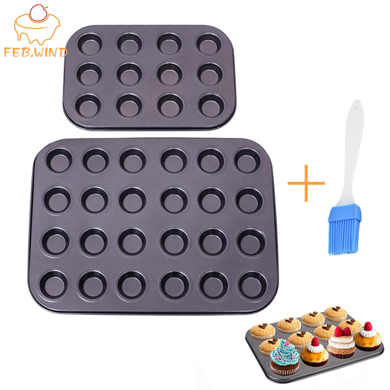 Bakeware Mini Muffin Cake Baking Pan 12/24/48 Holes Cupcake Mold Non Stick Baking Dishes Carbon Steel Oven Trays Pastry Tool 316(China)