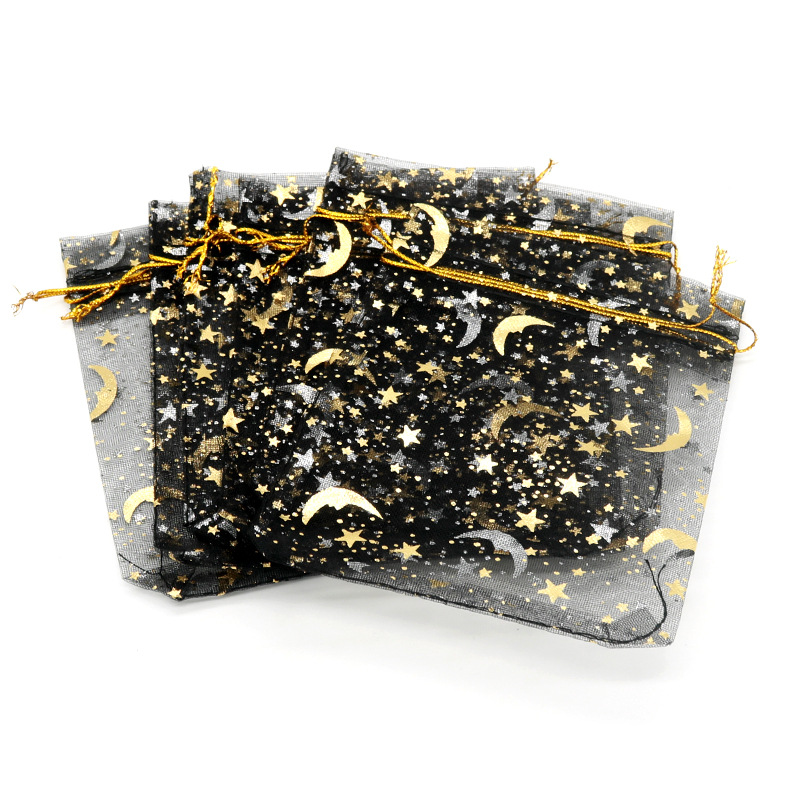 50pcs Gauze Bag Star-moon Black Bags 9*12cm Special Design Organza Package Bronzed Wedding Gift Candy Jewelry Jewelry Package