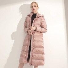 Зимняя Новая высококачественная Женская модная длинная пуховая куртка с капюшоном Женская качественная теплая куртка на утином пуху Женская