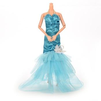 1 pc Doll Fishtail Skirt 3 Colors Handmade Mermaid Dress For Barbie Doll Lace Flower Dresses Dolls Accessories 1