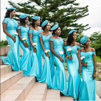 Light Blue Mermaid Bridesmaid Dresses 2020 Sexy Off Shoulder African Women Formal Party Dress Long Formal Wedding Guest Gowns