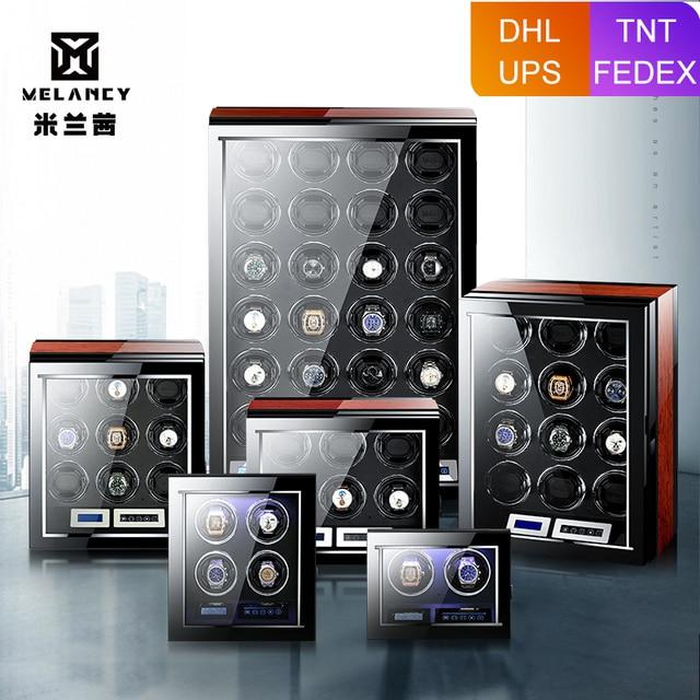 M & Q uhrenbeweger اليابانية mabuchi محرك خشبي تحكم آمن led التلقائي ملفاف ساعة ملفاف صندوق
