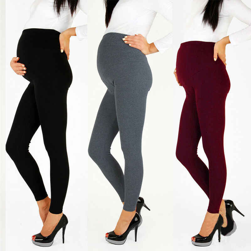 For Pregnant Womens Solid Color Warm Maternity Stretchy Slim Skinny Leggings Pregnancy Pants