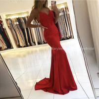 Gorgeous Mermaid Long Evening Dresses V neck Spaghetti Straps Backless Trumpet Prom Gowns Appliques Beading Sexy Occasion Gowns