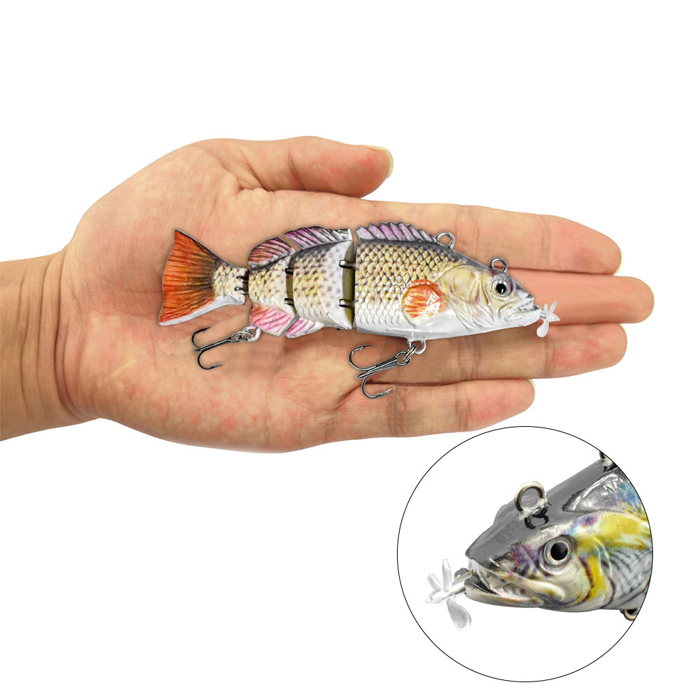 10cm NEW small Robotic Swimming Lures Fishing Auto Electric Lure Bait Wobblers For Swimbait USB Rechargeable Flashing LED light