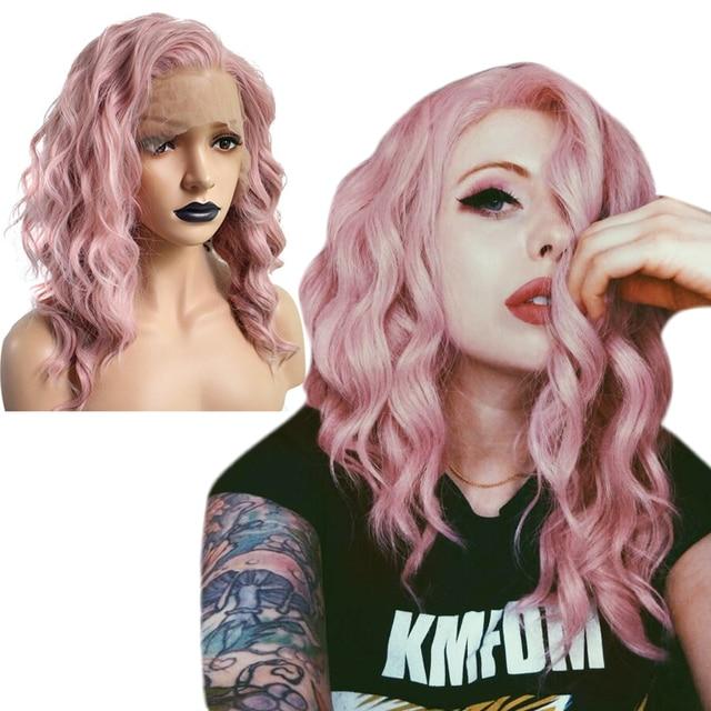 Anogol peluca con malla frontal sintética para mujer Peluca de pelo ondulado oscuro largo de fibra de alta temperatura, color rosa, color blanco