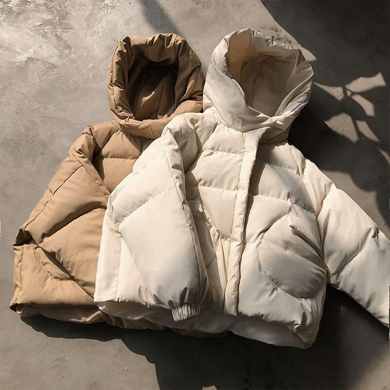 Quality Short Winter Jacket Women Cotton Padded Autumn Jacket Female White   Parka   Coat Womens Warmly Jacket Clothes Outerwear