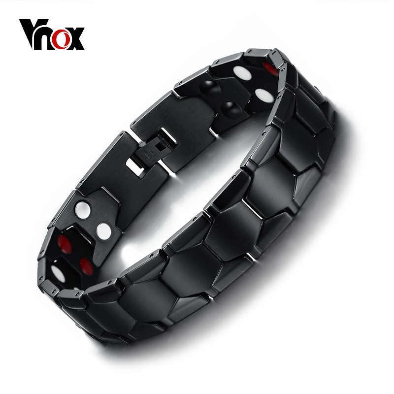 Vnox Mens Healing FIR Magnetic Bio Energy Bracelet Stainless Steel Blood Pressure Accessory Black Bracelets Size Adjustable