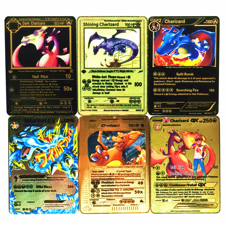 TAKARA TOMY Pokemon Metal Card Game Anime Battle Card Gold Charizard Pikachu Collection Card Toys For Children Christmas Gift