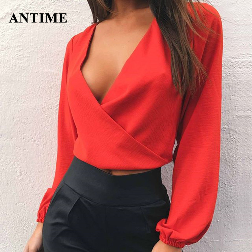 Antime Women Chiffon Blouse V Neck Sexy Backless Bow Lace Up Long Sleeve Ladies Tops Slim Party White Yellow Red Shirts