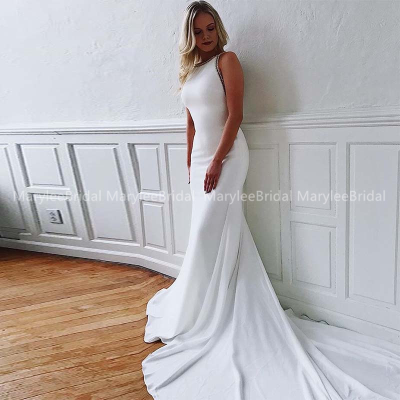 Gorgeous Mermaid Wedding Gowns Scoop Neck White Backless Bride Dress With Beaded Edge Made To Measure Suknia Slubna Chapel Train