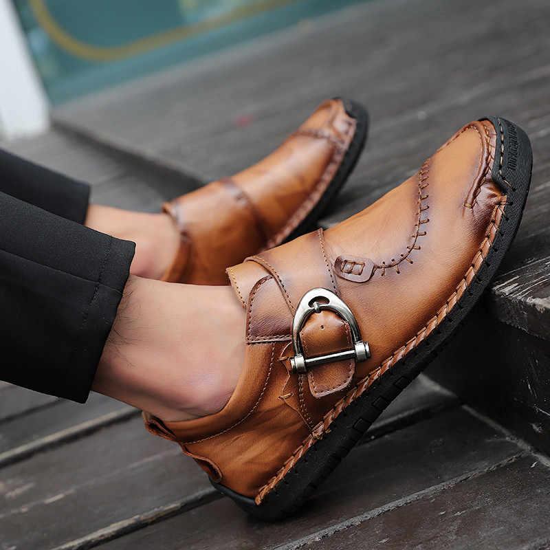 Yeni sonbahar rahat deri ayakkabı erkekler moda makosen ayakkabılar erkekler rahat sürüş ayakkabısı yumuşak Moccasins Flats ayakkabı büyük boy 38-48