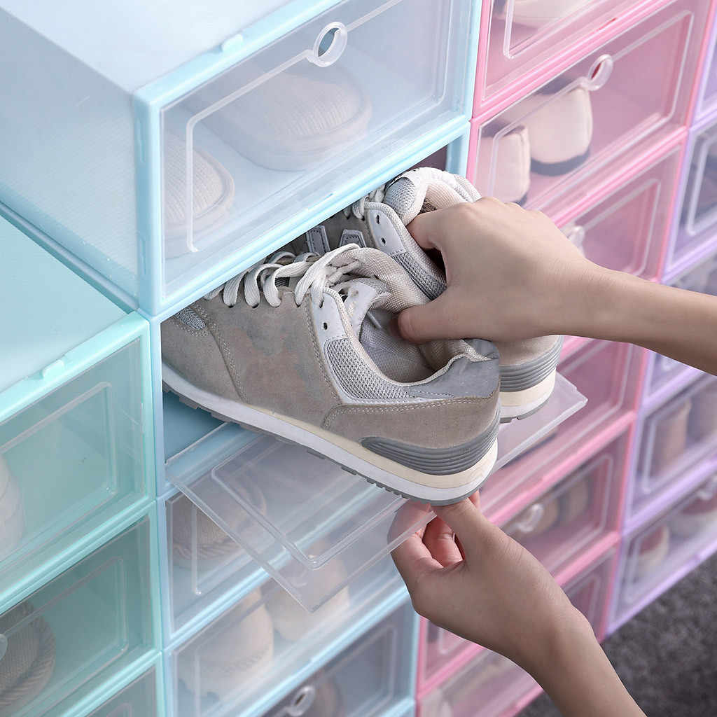 Plastic Candy Color Stackable Shoe Organizer 1PC Foldable Clear Shoes Storage Box Boite De Rangement Opbergdoo Shoes Storage box