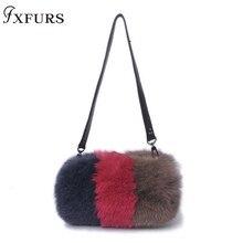 2019 Womens Handbags Real Fox Fur Messenger Bags Zippers Fashion Fluffy Interior Zipper Pocket Mixed Cross-shoulder